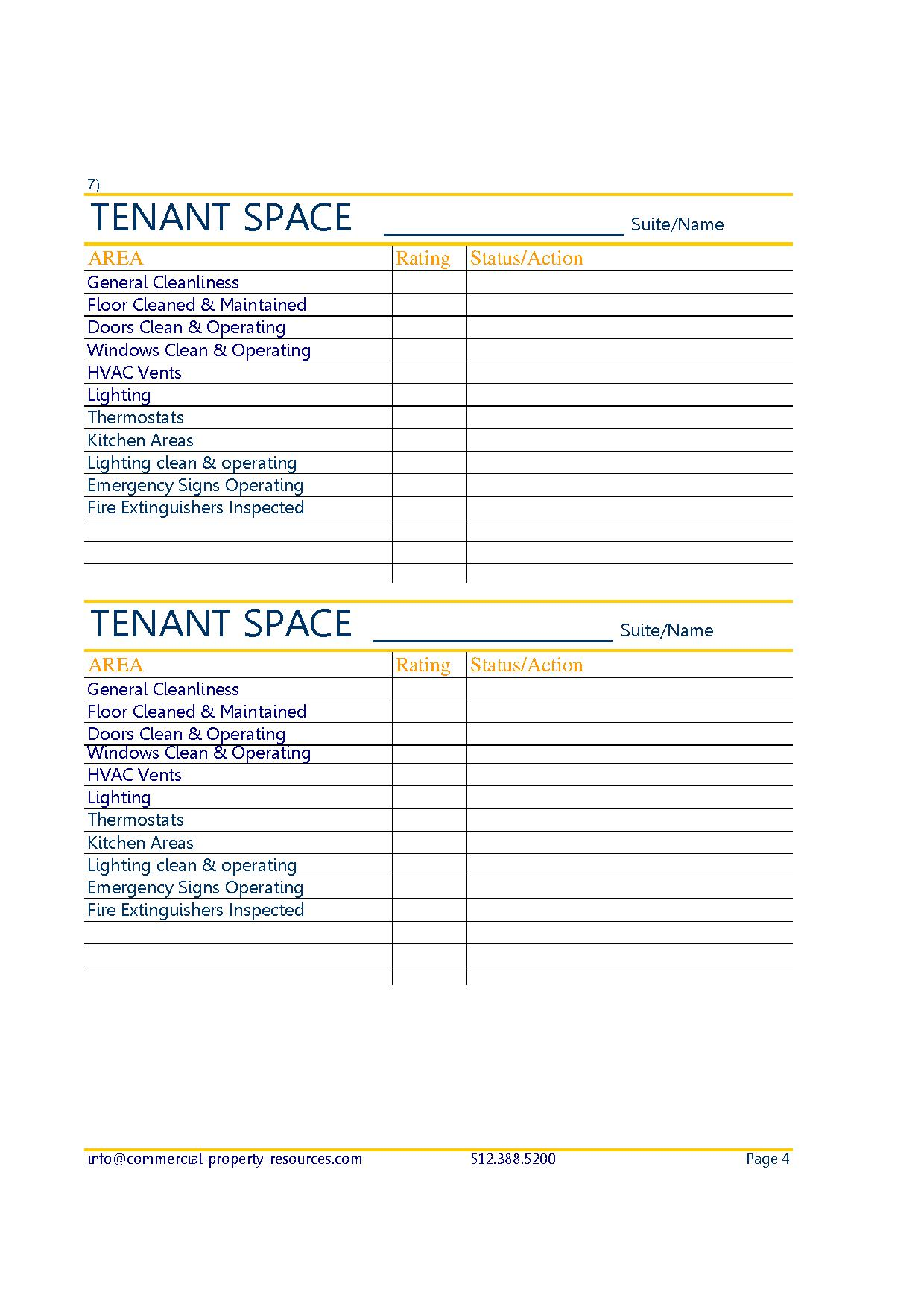 Maintenance Checklists Commercial Property Resources
